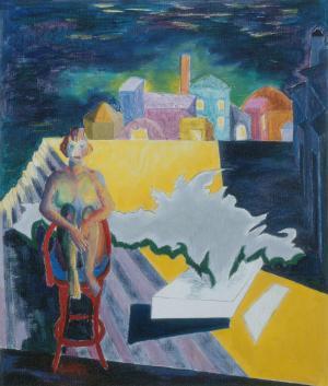Femme assise devant la ville