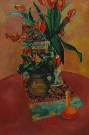 Brigitte Moreau Serre, Nature morte à la nappe rouge